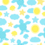 Children`s summer pattern in patchwork style Stock Image