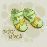 Children's summer shoes  green  for boys Royalty Free Stock Photo