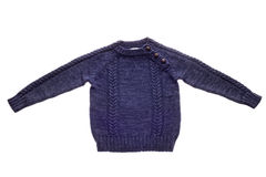 Children`s sweater isolated. Children`s dark blue sweater isolated on white background Royalty Free Stock Photo