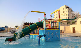 Children's swimming pool with slides for entertainment,  resort on the Dead Sea, Jordan Stock Photos