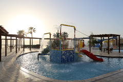 Children's swimming pool with slides for entertainment,  resort on the Dead Sea, Jordan Royalty Free Stock Photos