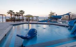 Children's swimming pool with slides for entertainment,  resort on the Dead Sea, Jordan Stock Image
