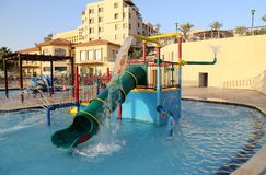 Children's swimming pool with slides for entertainment,  resort on the Dead Sea, Jordan Royalty Free Stock Photography