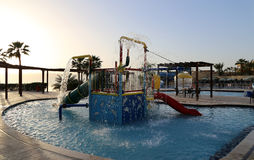 Children's swimming pool with slides for entertainment,  resort on the Dead Sea, Jordan Royalty Free Stock Photo