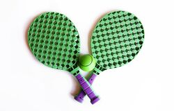Children`s tennis, rackets on a white isolated background with place for text