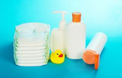 Children's toilet accessories and diapers Royalty Free Stock Photo