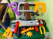 Children`s tools for repair, and construction. Men`s toys for children royalty free stock photos