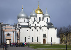 Children`s tour at St. Sophia Cathedral. Veliky Novgorod Stock Image