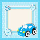 Children's toy car greeting card. Greeting card with space for text. Children frame. Vector illustration. Stock Photography