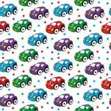 Children's toy car seamless texture. Car background, children's wallpaper. Vector illustration Stock Photos