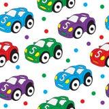 Children's toy car seamless texture. Car background, children's wallpaper. Vector illustration Stock Photography