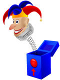 Children's toy the clown. A joker in a box with a spring in a  isolated on a white background Stock Photos