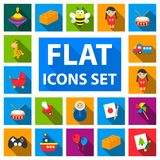 Children`s toy flat icons in set collection for design. Game and bauble vector symbol stock web illustration. Stock Image