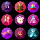 Children's toy icons Royalty Free Stock Images