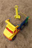 Children's toy left in the sandbox and waiting for its owner. Problem of children who prefer modern technology with gadgets and computer games Royalty Free Stock Image