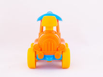 Children`s toy locomotive. On a white background Stock Images