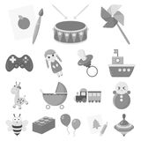 Children`s toy monochrome icons in set collection for design. Game and bauble vector symbol stock web illustration. Stock Photography