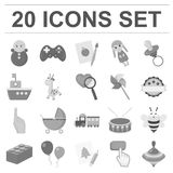 Children s toy monochrome icons in set collection for design. Game and bauble vector symbol stock web illustration. Stock Image