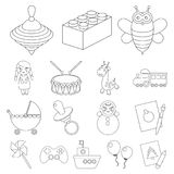Children`s toy outline icons in set collection for design. Game and bauble vector symbol stock web illustration. Stock Image