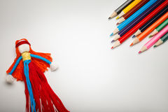 Children`s toy and pencils background Stock Photography