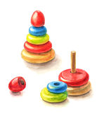 Children's toy pyramid watercolor painting. Multicolored children's toy pyramid assembled and disassembled (watercolor painting Stock Image