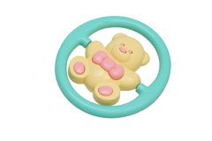 Children's toy rattle. Yellow bear. Stock Photo