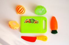 Children`s toy set, plastic multicolored fruits Royalty Free Stock Photography