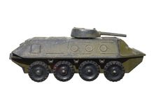 Children's toy: a very old toy armored metal green Royalty Free Stock Photo