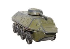 Children's toy: a very old toy armored metal green Royalty Free Stock Photography