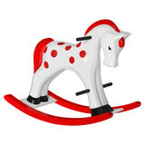 Children`s toy white rocking horse with red runners, mane and tail, with black handles and hooves. On a white background Royalty Free Stock Photo