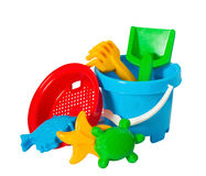 Children's toys. Children colourful bucket and toys on white Stock Photo
