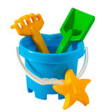 Children's toys. Children colourful bucket and toys on white Stock Image
