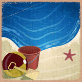 Children's toys on the background of the sea shore Royalty Free Stock Photo