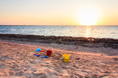 Children's toys on the beach Royalty Free Stock Images