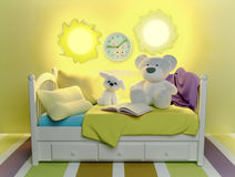 Children`s toys and book, are located on a bed. Royalty Free Stock Photos