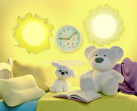 Children`s toys and book, are located on a bed. Fairy tale for t Royalty Free Stock Photography