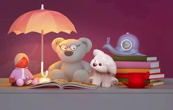 Children`s toys, books, clock, the lamp are located on a table. Royalty Free Stock Photo