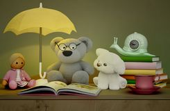 Children`s toys, books, clock, the lamp are located on a table.