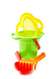 Children's toys  bucket  shovel and  rake on the white Royalty Free Stock Image