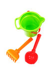 Children's toys  bucket  shovel and  rake Royalty Free Stock Images