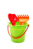Children's toys  bucket  shovel and  rake Royalty Free Stock Photo