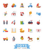 Children's toys flat design isolated icons vector set. Collection of flat design children's toys icons Stock Photos