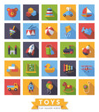 Children`s Toys flat design square vector icons collection. Set of square flat design long shadow children's toys icons Stock Photography