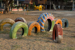 Children`s toys made from old car tires in Thailand Stock Images