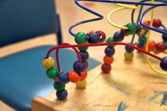 Children's toys in medical waiting room royalty free stock image