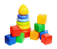 Children's toys pyramid and cubes Royalty Free Stock Photography