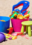 Children's toys in the sandbox Royalty Free Stock Photos