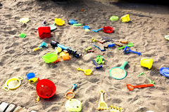 Children`s toys in the sandbox. Children`s toys on the sand royalty free stock image
