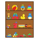 Children`s toys, a set of children`s toys on the shelf. royalty free illustration