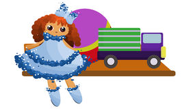 Children`s toys on a shelf. A doll in a blue dress, a truck, a ball Royalty Free Stock Photos